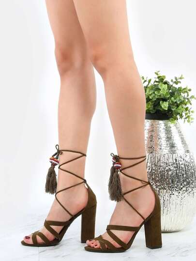 Open Toe Strappy Beaded Heels OLIVE