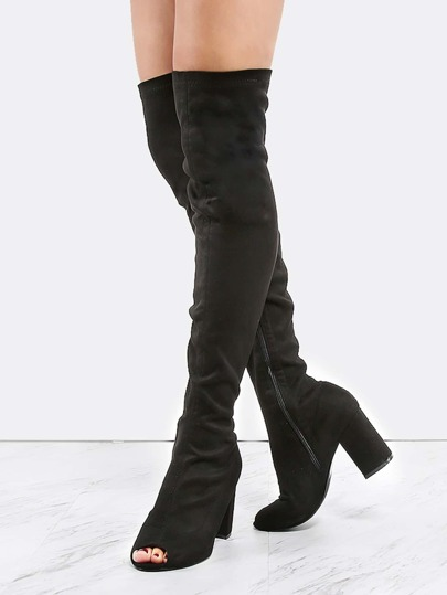 Peep Toe Suede Thigh Boots BLACK