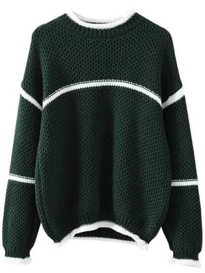 Dark Green Striped Trim Loose Sweater