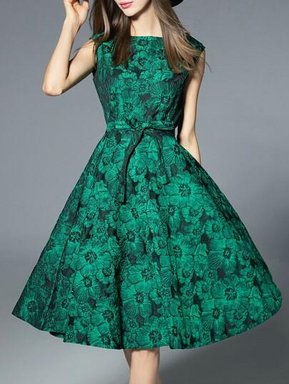 Vestido con estampado línea A - verde