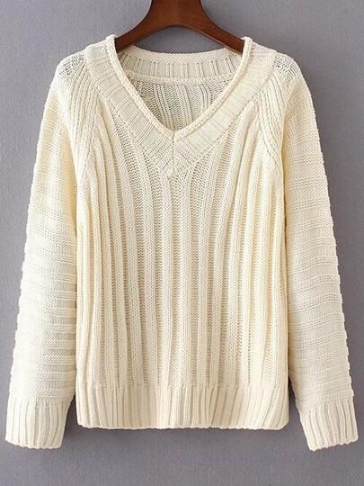 Beige V Neck Loose Sweater