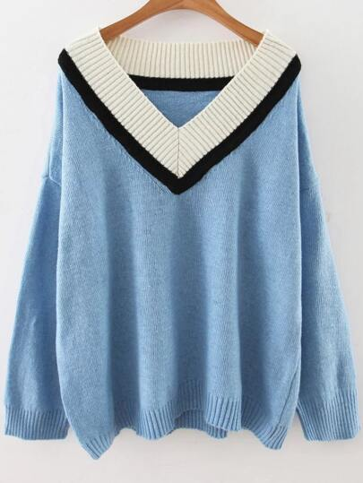 Blue V Neck Drop Shoulder Loose Sweater