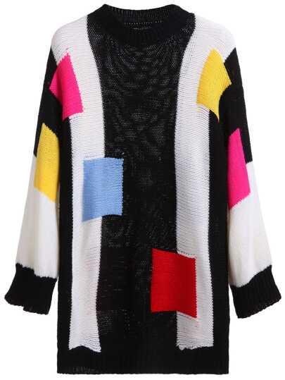 Patchwork Drop Shoulder Knit Sweater