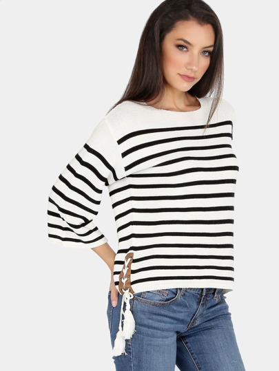 Striped Tassel Tie  Knit Sweater CREAM BLACK