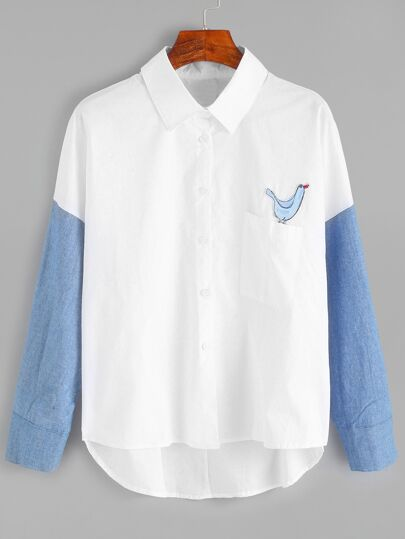 White Contrast Sleeve Applique High Low Shirt