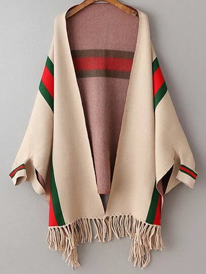 Khaki Color Block Fringe Hem Poncho Sweater