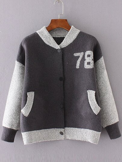 Grey Graphic Pattern Knitted Bomber Jacket