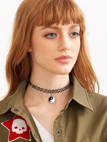 Tai Chi Design Pendant Elastic Choker Necklace