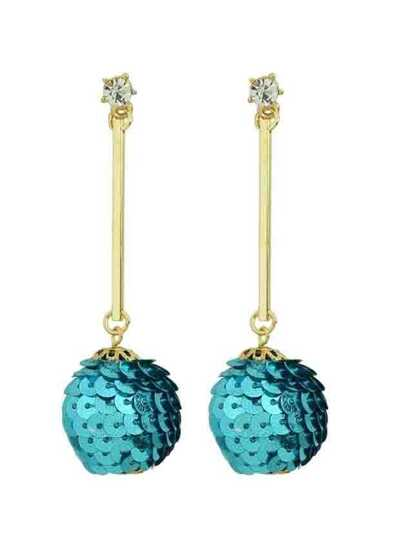 Blue Metal Ball Long Drop Earrings For Women