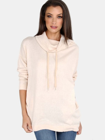 Fold Over Mock Neck Knit Sweater CREAM