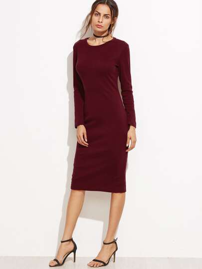 Burgundy Split Back Sheath Dress