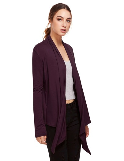 Purple Open Front Drape Cardigan Sweater