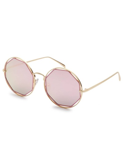 Gold Frame Pink Lens Hollow Out Sunglasses
