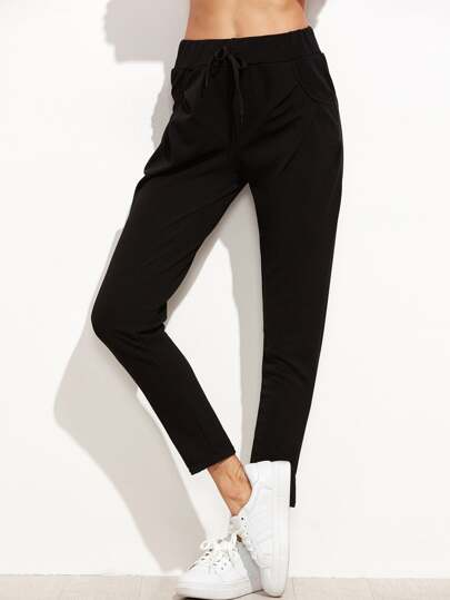 Black Drawstring Ankle Pants