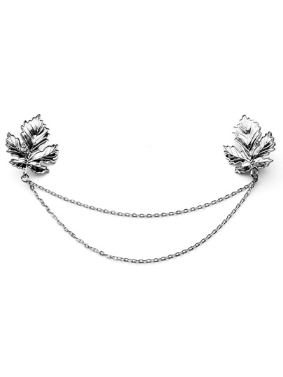 Silver Plated Leaf Chain Brooch