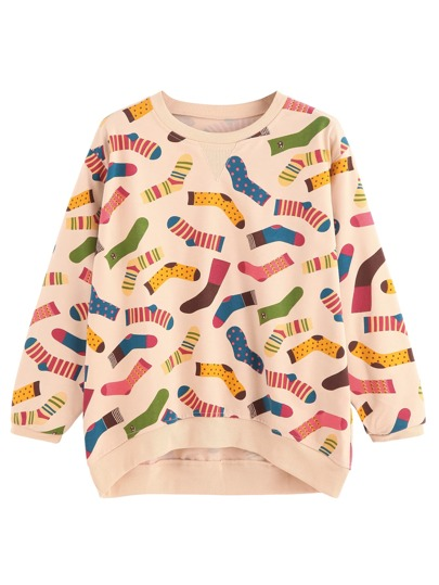 Apricot Socks Print Dip Hem Sweatshirt