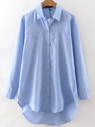 Bluse mit Knopf vorne kurz hinten lang -blau