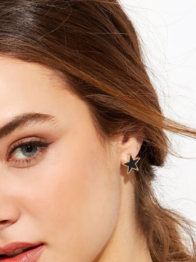 Black Star Metal Trim Stud Earrings