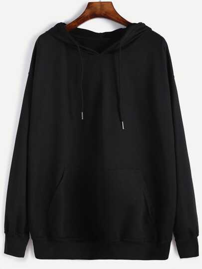 Drop Shoulder Hooded Sweatshirt