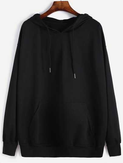 Sudadera con capucha y cordón - negro