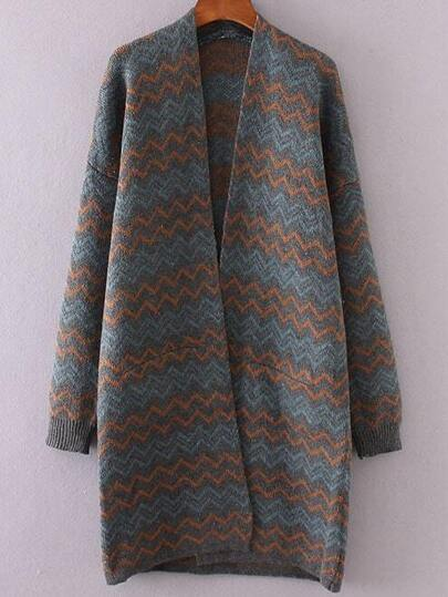 Grey Wave Pattern Open Front Long Cardigan