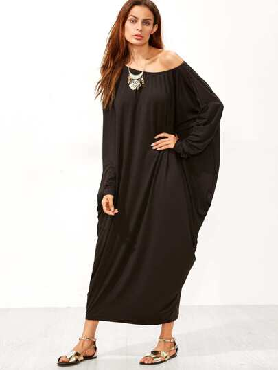 Black Boat Neck Dolman Sleeve Cocoon Maxi Dress