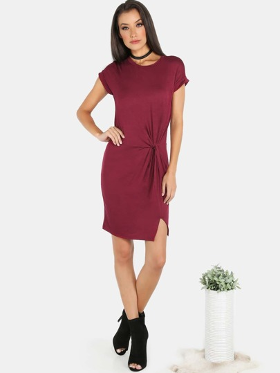 Short Sleeve Knotted Waist Dress BURGUNDY