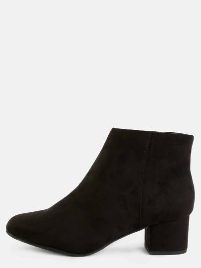 Classic Low Cut Block Heel Boots BLACK
