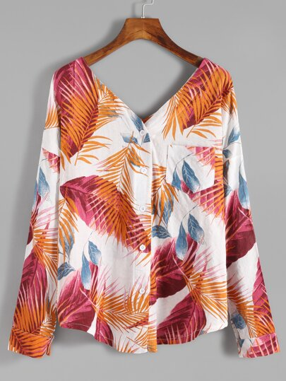 Leaf Print Double V Neck Dip Hem Button Blouse