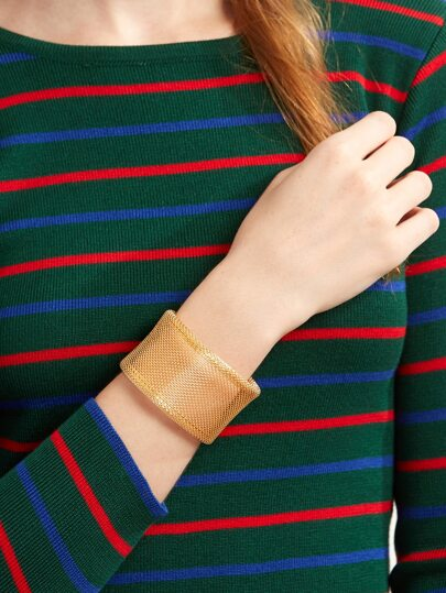 Gold Plated Wide Mesh Wrap Bangle