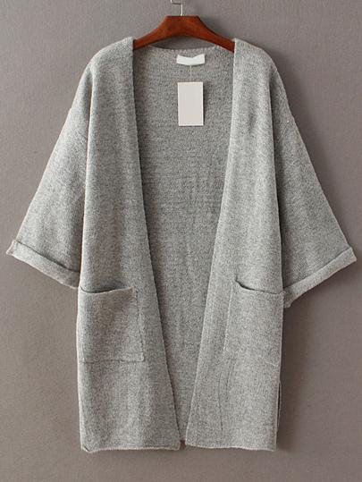 Grey Roll Cuff Split Side Pocket Cardigan