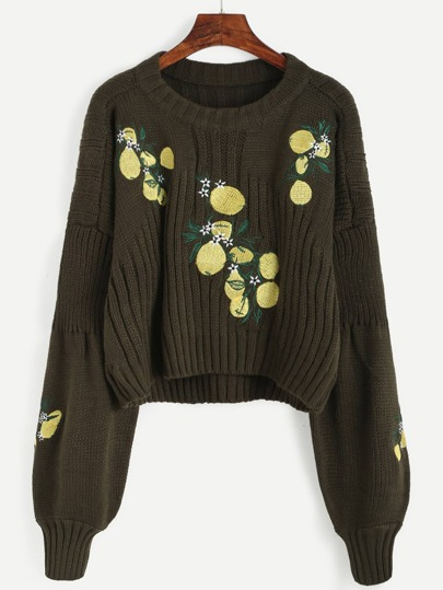 Lantern Sleeve Lemon Embroidered Sweater