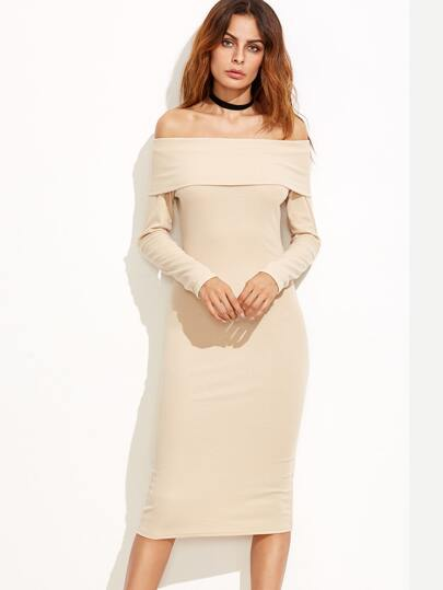 Apricot Off The Shoulder Pencil Dress
