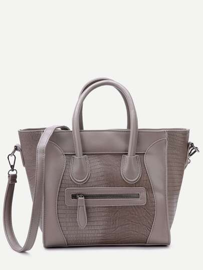 Grey Embossed PU Front Zipper Tote Bag With Strap