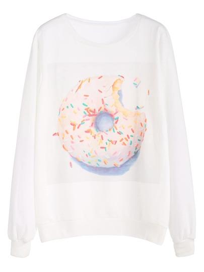 White Donut Print Sweatshirt