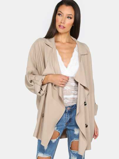 Sommer Mantel gerollt langarm - khaki