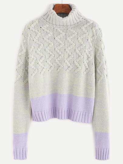 Contrast Turtleneck Chevron Knit Sweater