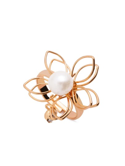 Gold Hollow Out Flower Faux Pearl Ring