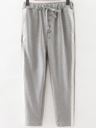 Grey Striped Side Drawstring Waist Sports Pants