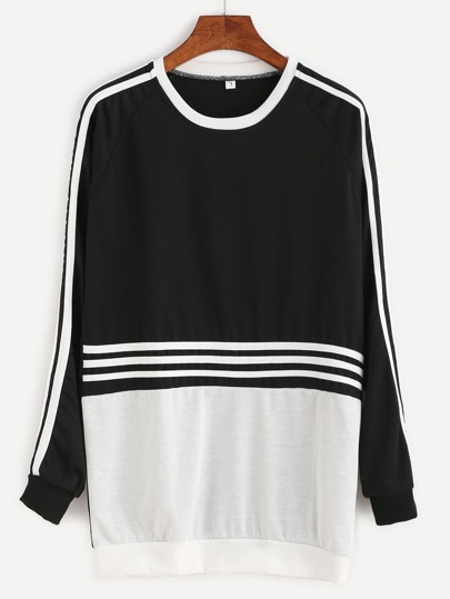 Color Block Striped Trim Sweatshirt