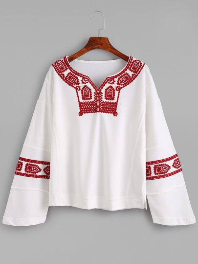 White Drop Shoulder Embroidered Sweatshirt