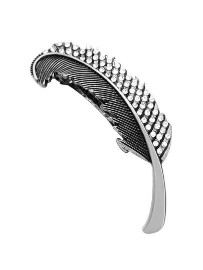 Silver Leaf Rhinestone Hair Clip