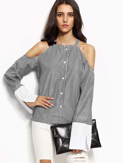 Grey Striped Cold Shoulder Bell Cuff Shirt