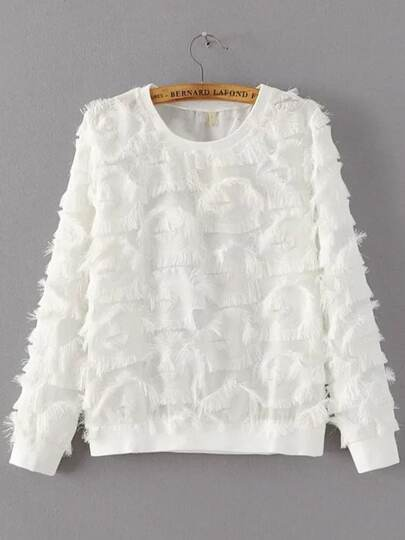 White Round Neck Hairy Detail sweatshirt