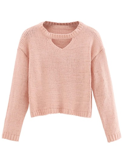 Pink Cut Out Crop Sweater