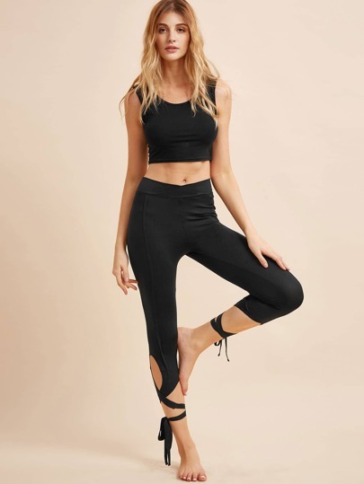 Black Criss Waist Lace Up Leggings