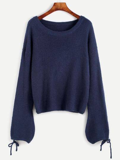 Blue Drop Shoulder Tied Lantern Sleeve Sweater