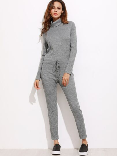 Heather Grey Turtleneck Drawstring Waist Sweat Jumpsuit