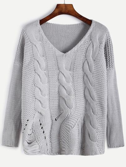 Grey V Neck Ripped Cable Knit Sweater