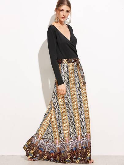 فستان ماكسي بطباعة وحزام كم طويل